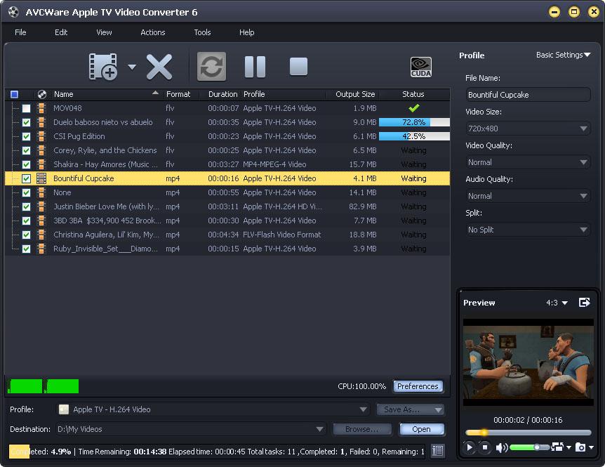 Windows 7 AVCWare Apple TV Video Converter 6.0.9.1210 full