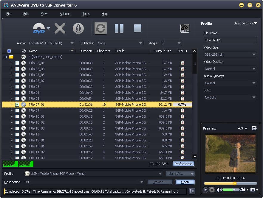 AVCWare DVD to 3GP Converter 6.0.9.0928 full