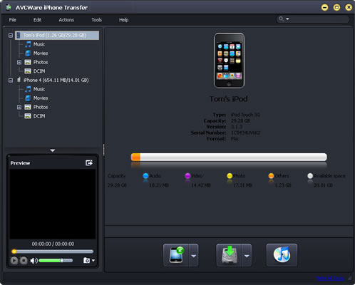 Click to view AVCWare iPhone Transfer 4.0.3.0311 screenshot