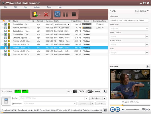 Click to view AVCWare iPod Movie Converter 6.5.2.0314 screenshot