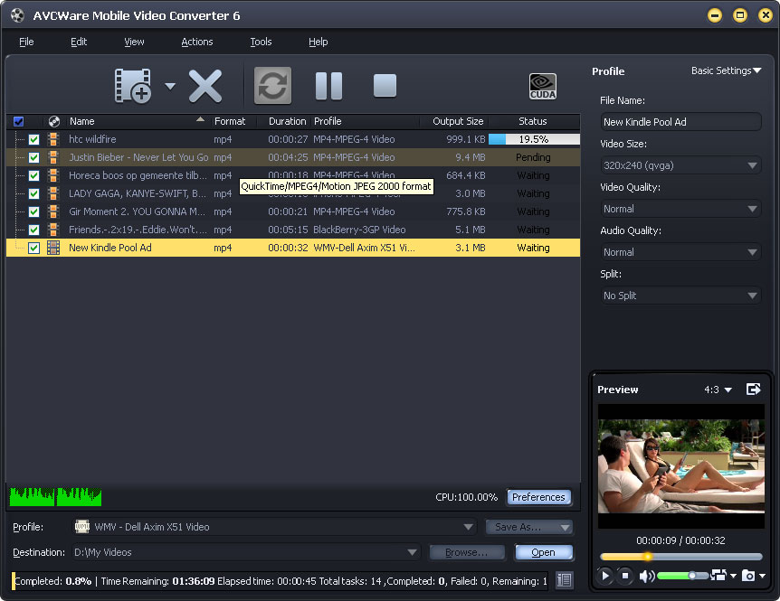 AVCWare Mobile Video Converter screenshot: mobile video converter, convert videos to mobile phone