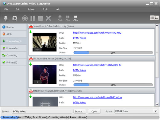 AVCWare Online Video Converter Screenshot