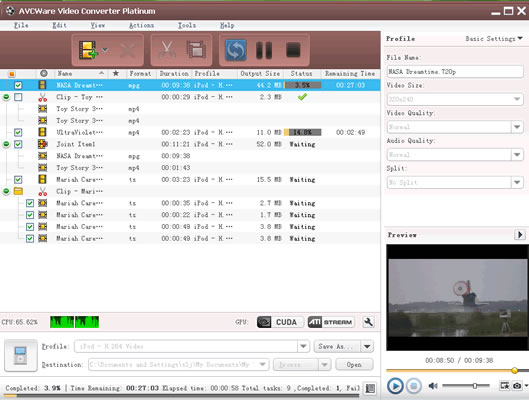 Click to view AVCWare Video Converter Platinum 6.5.2.0314 screenshot
