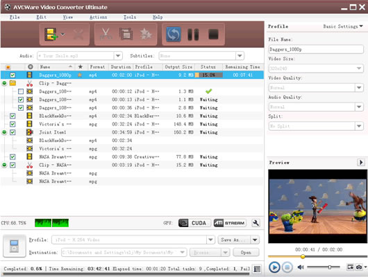 Click to view AVCWare Video Converter Ultimate 6.5.2.0314 screenshot