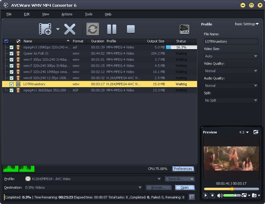 Screenshot of AVCWare WMV MP4 Converter 6.0.9.1231