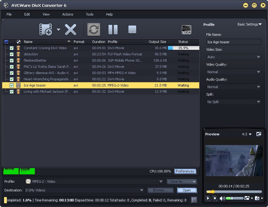 Convert popular videos to DivX with ease
