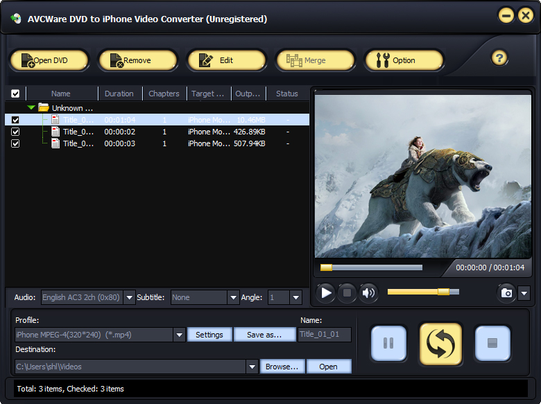 Windows 7 AVCWare DVD to iPhone Video Converter 6.0.9.0928 full