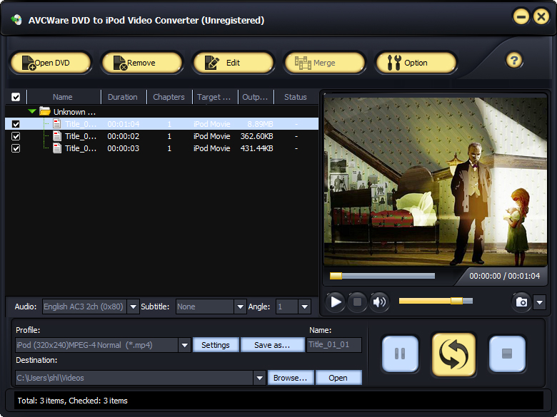 Click to view AVCWare DVD to iPod Video Converter screenshots